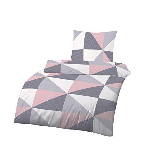 Träumschön Renforce Bettwäsche 135x200 | Bettwäsche 135x200 cm & Kissenbezug 80x80 2tlg | 100% Baumwoll Bettwäsche | Tolle Sommerbettwäsche