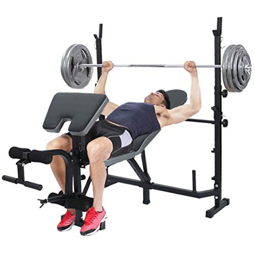 Olympic Weight Bench, Multifunctional Strength Training Benches Adjustable Dumbbell Bench Weightlifting Bed With Preacher Curl Leg Developer and Crunch Handle