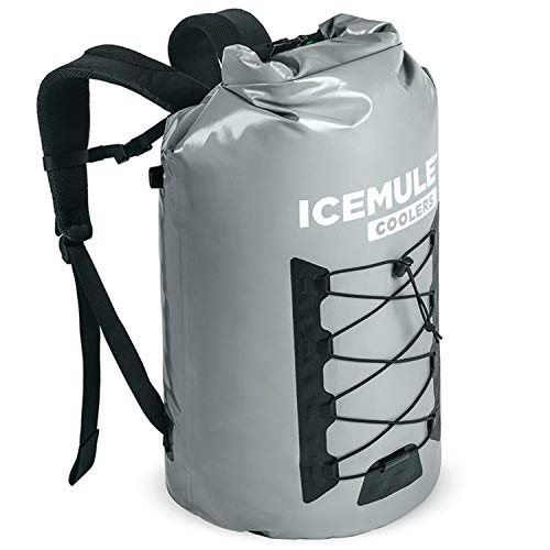 IceMule 1014-Grey Pro Large Collapsible Portable Soft Sided Roll Top 23 Liter 18 Can Lightweight Insulated Waterproof Leak Proof Backpack Cooler Bag, for Hiking, Camping, Fishing, & Picnic