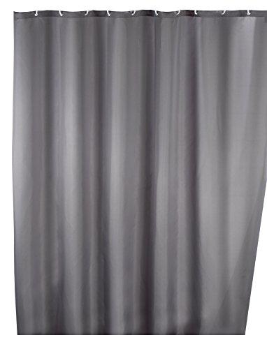WENKO Anti-Schimmel Duschvorhang Uni Grey - Anti-Bakteriell, Textil, waschbar, wasserabweisend, schimmelresistent, mit 12 Duschvorhangringen, Polyester, 180 x 200 cm, Grau
