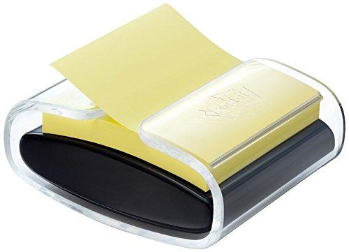 Post-it Spender für den Schreibtisch in schwarz/ transparent für Super Sticky Z-Notes, praktischer Helfer für Büro und Schularbeiten mit einem Haftnotizblock