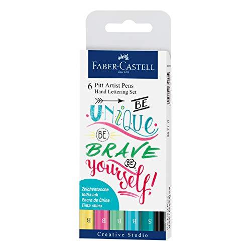 Faber-Castell 267116 - Tuschestift Pitt Artist Pen Lettering, 6er Etui bunt
