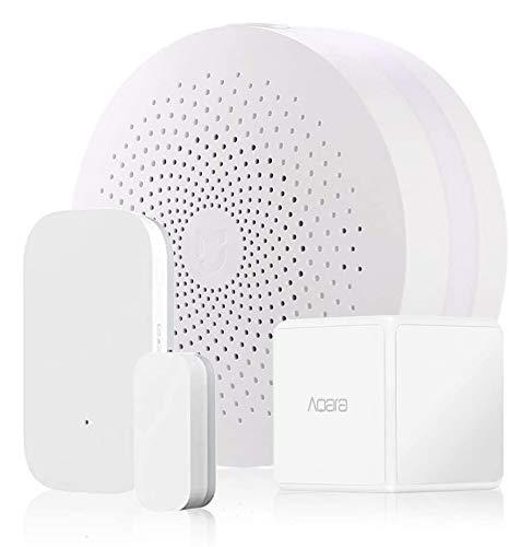 Dewanxin per Mijia Smart Home Aqara Home 3 in 1 Kit, 1* Mijia Smart Home WiFi Remote Control Multifunctional Gateway, 1* Aqara Magic Cube Controller, 1* Aqara Intelligent Window Door Sensor