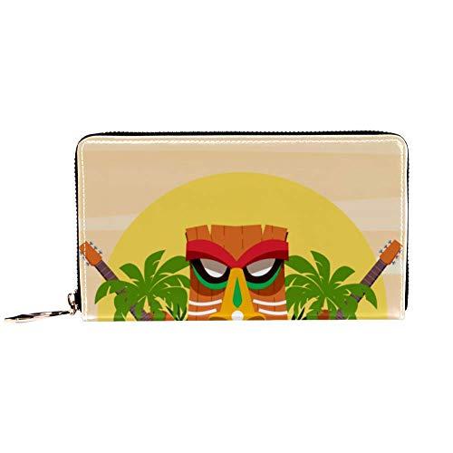 XCNGG Cartera con Cremallera para Mujer y Embrague para teléfono, Estampado de Plantas de máscara Hawaiana y ukeleles, Bolso de Viaje, Bolso de Mano, Tarjetero, Organizador, muñequeras, Carteras