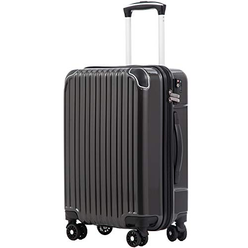 [クールライフ] COOLIFE スーツケース キャリーバッグダブルキャスター 二年 機内持込 ファスナー式 人気色 超軽量 TSAローク (ダークグレー, S サイズ(機内持ち込み))