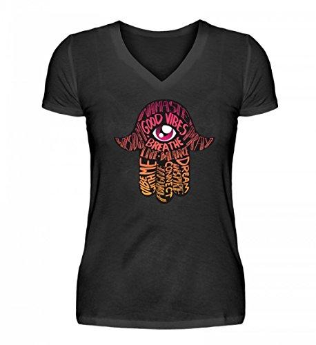 Hochwertiges V-Neck Damenshirt - Hand der Fatima Hamsa Glücksbringer Meditation Yoga Auge Glück Mit Sprüche Namaste T-Shirt