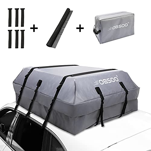 OBSOO Car Rooftop Cargo Carrier Bag, 20 Cubic Feet 100% Waterproof Car Roof Cargo Bag for All...
