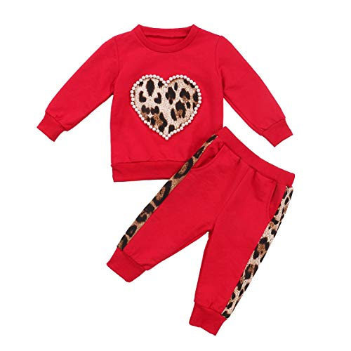 Toddler Girl Clothes Pearl Leopard Long Sleeves Sweatshirt and Pants Outfit Spring Fall Winter Clothing Set (Red, 18-24 Months)