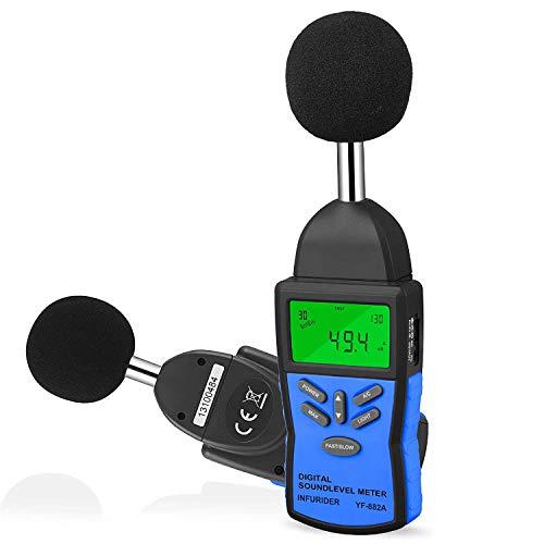 INFURIDERデジタル騒音計 騒音測定器 YF-882A ノイズメーター 30-130dB(A/C)音量測定 サウンドレベルメーター AC/DC出力、棒グラフ、高速/低速、LCDバックライト、工場/自動車騒音/環境保護に最適 電池付属