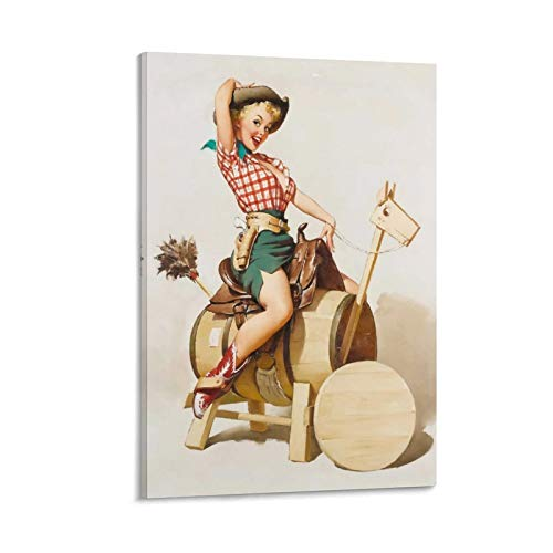 one1love Artworks Poster Prints Vintage Pin Up Well Built Pin Up Cowgirl Vintage Leinwand Gemälde Exquisite Dekoration von Kunst Korridor, 30 x 45 cm