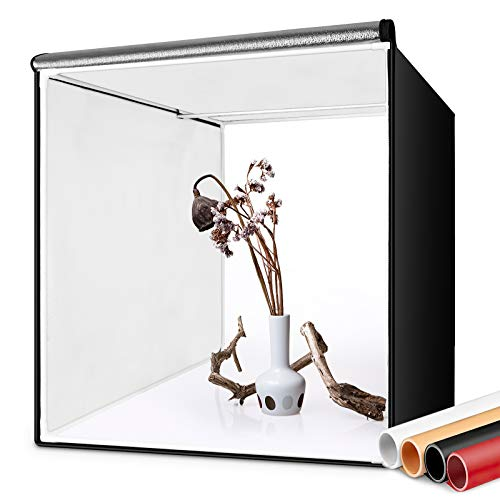 FOSITAN Caja de Fotografía 60 * 60cm/24' Caja de Luz Estudio fotográfico portátil, 126 LED Luz de Día 5500k Foto Estudio con 2 Tiras de LED, 4 Fondos (Blanco/Negro/Naranja/Rojo), Bolsa de Transporte