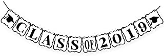 Class of 2019 Graduation Banner Decorations - No-DIY Required, Classy Graduation Decorations Sign for College Grad Party, High School Graduation Party Supplies 2019, White and Black,Large,8 x 6.5 Inch