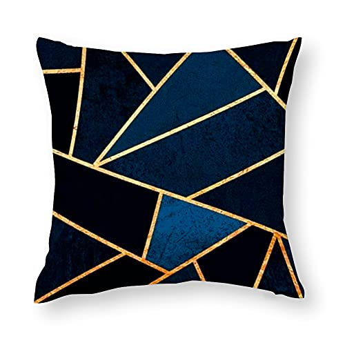 Funda de cojín para sofá cama para mamá y papá Art Deco Funda de cojín geométrica azul y dorado, fundas de almohada, fundas de almohada de 40 a 50 cm, algodón, cubierta de trom para café y té