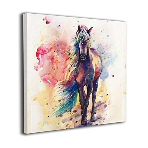 Colla 12'x12' Watercolor Horse Canvas Wall Art Prints Modern Paintings Picture for Living Room Bedroom Bathroom Framed Ready to Hang