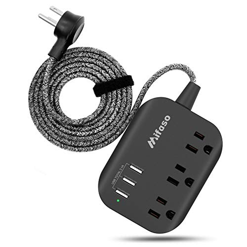 Power Strip with USB, Mountable Flat Plug Power Strip with 3 Outlets 3 USB Ports(Smart 3.1A), 5ft Braided Extension Cord, Compact for Cruise Ship, Travel, Home, Office
