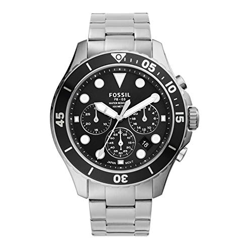 Fossil Men's FB-03 Quartz Stainless Chronograph Watch, Color: Silver, Black Dial (Model: FS5725)