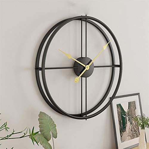 Chengstore Reloj De Pared Diseño Moderno Reloj Silencioso De Metal Reloj De Pared Sin Ruidos De Tic para La Oficina En El Hogar - Antiguo Rústico Dorado/Negro