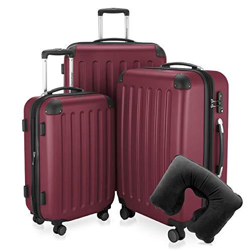 Hauptstadtkoffer - Spree - 3er-Koffer-Set Trolley-Set Rollkoffer Reisekoffer-Set Erweiterbar, TSA, 4 Rollen, (S, M & L), Burgund inkl. Reise Nackenkissen