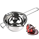 [New Upgrade] Stainless Steel Double Boiler Pot 600ML for Melting Chocolate, Butter, and Candle Making - 18/8 Steel Universal Insert