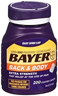 Bayer Back & Body Extra Strength Pain Reliever Coated Caplets, 200 count - Buy Packs and SAVE (Pack of 2)