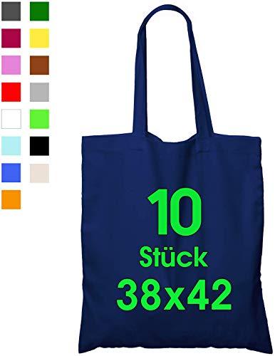 ELES VIDA katoenen tas donkerblauw (10 stuks in 38x42) - De ORIGINELE ÖKO-TEX® geteste merkartikelen, lange hengsels, draagtas, jute tas, boodschappentas, katoenen stoffen tas gemaakt van 100% katoen