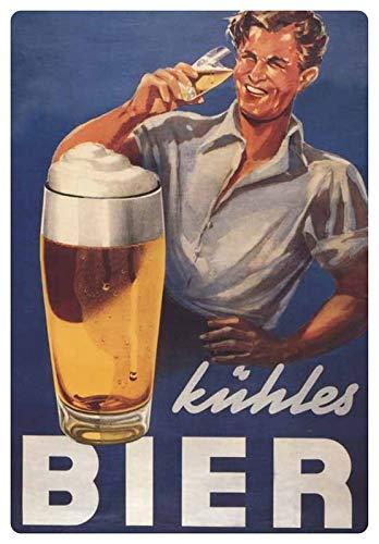 Blechschild 20x30cm gewölbt Werbe Plakat kühles Bier Bar Retro Deko Geschenk Schild Mann mit Bierglas