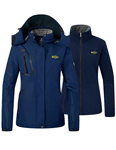 Wantdo Women's 3 in 1 Full Zip Ski Jacket Waterproof Winter Snow Coat Navy Small
