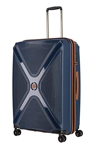 Gepäck Serie PARADOXX: TITAN Hartschalen Trolleys mit Akzenten in Leder Optik, Koffer 4-Rad groß mit TSA Schloss, 833404-20, 76 cm, 110 Liter, Navy (Blau)