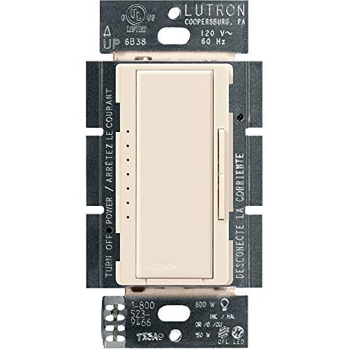 Lutron Maestro LED+ Dimmer for Dimmable LED, Halogen and Incandesent Bulbs | Single-Pole or Multi-Location | MACL-153M-LA | Light Almond