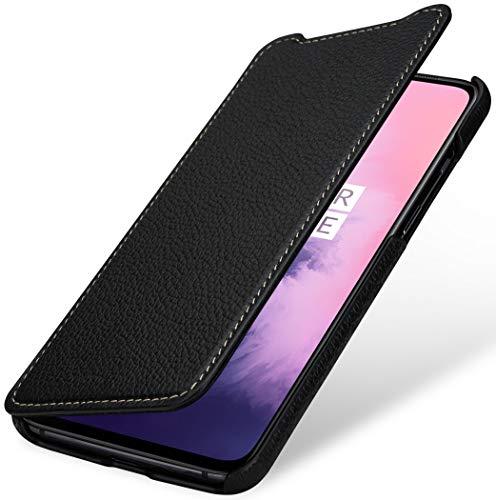 StilGut Hülle geeignet für OnePlus 7 Lederhülle Book Type, schwarz