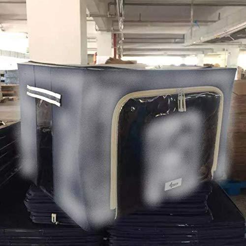 4CONVY - Custodia rigida pieghevole per biancheria da letto, cuscini, vestiti, biancheria da letto, con telaio in metallo e 2 finestre, impilabile, oggetti non piegati, 2 pezzi (grigio, M)