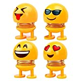 4 Different Emoji Faces: -- This set includes 2 different cute expressions,like emoji sunglasses, emoji smiley face, emoji grin which is made of plastic and which is about 3 inches high. haking Head: -- The emoji doll will shake their heads because o...