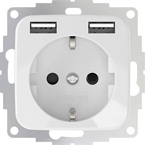 2USB inCharge Pro SI Schutzkontakt Steckdose mit integriertem USB Ladegerät 2,4A, kompatibel mit Reflex SI Serie Busch Jäger (Reinweiß glänzend)