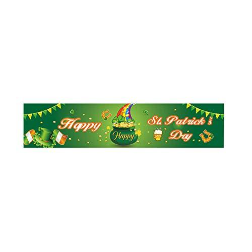 Moent Banners Happy St. Patrick 's Day Banners, Irish Holiday Shamrock Banner para exteriores e interiores, accesorios para decoración de fiestas (multicolor, 1 unidad)