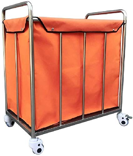 TQJ Storage Baskets for Bedroom Laundry Sorter Cart Large Rolling Stainless Steel, Heavy Duty Laundry Hamper Trolley for Home Hotel Clothes Storage, 50x80x90cm Storage Baskets Large (Color : Orange)