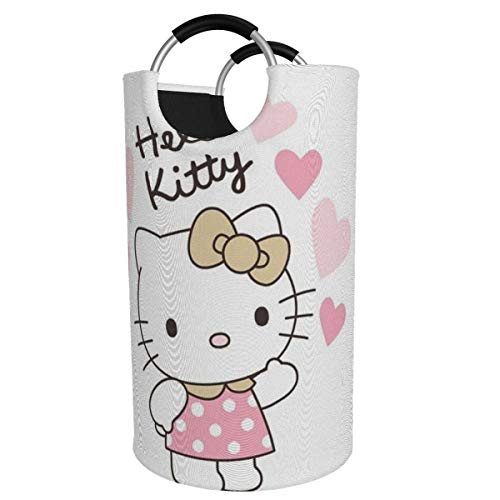 GCNqat Laundry Basket Pink Hello Kitty Love Laundry Hamper Foldable Clothes Bag Folding Washing Bin Large