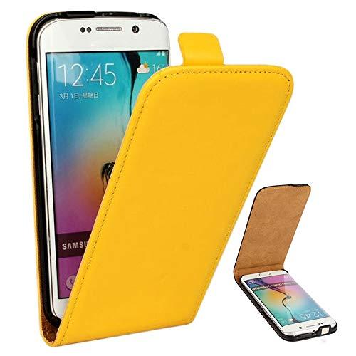 Roar Handy Hülle für Samsung Galaxy Alpha Handyhülle Gelb, Flipcase Schutzhülle Tasche für Samsung Galaxy Alpha, PU Lederhülle mit Magnetverschluß