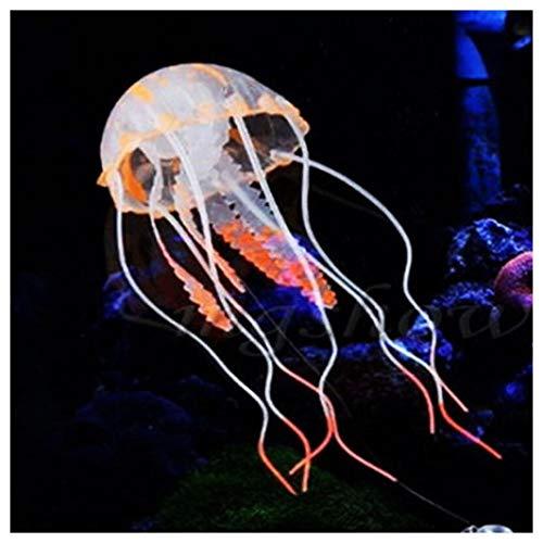 Méduse Décoration Silicone Aquarium Lumineuse Artificielle Flottante, squarex Simulation Vif Méduse Fluorescent éclatant de beauté rougeoyante Fish Tank décorer Ornement (Orange)