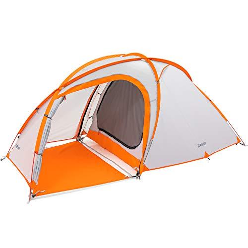 XGEAR テント 3-4人用 キャンプテント アウトドア 登山テント 防風防水 二重層キャンプテント オールシーズン グランドシート付