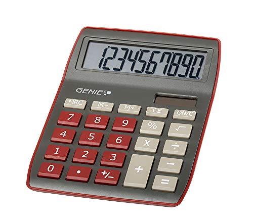 Genie 840 DR 10-cijferige rekenmachine, Dual Power (zonne-energie en batterij) Genie 840 DR donkerrood
