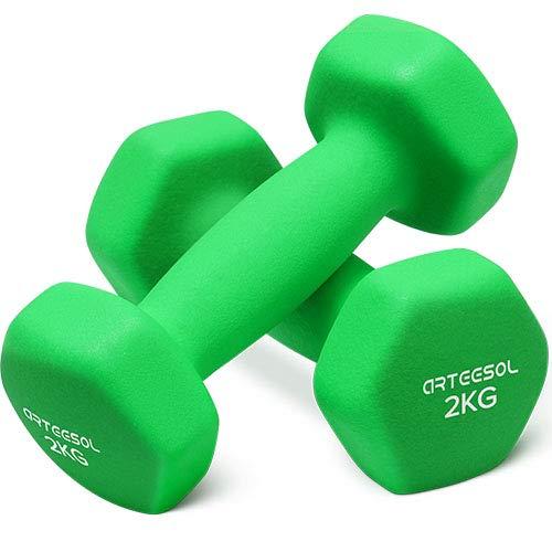 arteesol Neopren Hanteln, Kurzhanteln 2er-Set 1kg/2kg/3kg/4kg/5kg/8kg/10kg rutschfest Fitness Hantelset Workout Gewichte für Damen Männer Kinder Training Krafttraining Gymnastik (2kg-Pair)