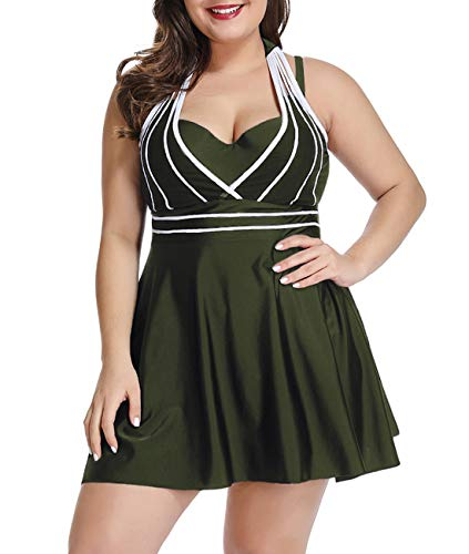 LALAGEN Womens Halter Swimdress Plus Size Two Piece Swimsuit Tankini Set Green XXXL