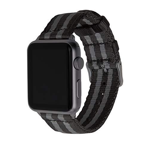 Archer Watch Straps | Sicherheitsgurt Stil gewebtes Nylon Armband für Apple Watch | Uhrenarmband für Herren und Damen | Schwarz und Grau (James Bond)/Space Grau, 38/40mm