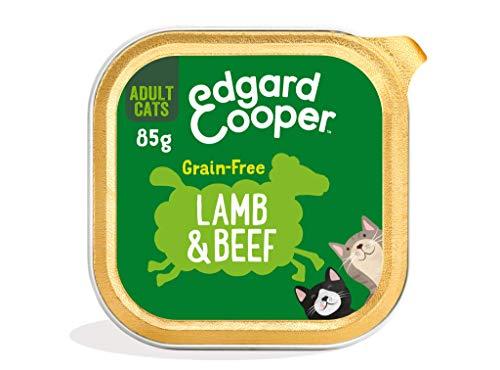 Edgard & Cooper Comida humeda Gatos Adultos sin Cereales, Natural con Ternera y Cordero Frescos. Comida Sana Rica en nutrientes y antioxidantes Naturales. Pack tarrinas de 19x85gr