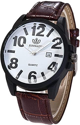 ZFAYFMA Relojes para Hombres, Relojes de Cuarzo Moda Correa de Cuero Barato Analógico Redondo Reloj Relojes Redondos Business Casual Men's Watch Brown