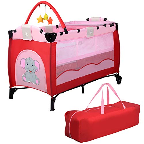 COSTWAY 3 in 1 klappbares Reisebett & Wickeltisch & Laufstall, Babybett bis 14kg belastbar, Kinderreisebett rollbar, inkl. Spielbogen, Wickelauflage und Tragetasche (Rosa)