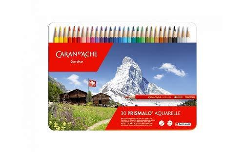Caran d'Ache Prismalo Lot de 30 Crayons de couleur aquarelle Couleurs Assorties
