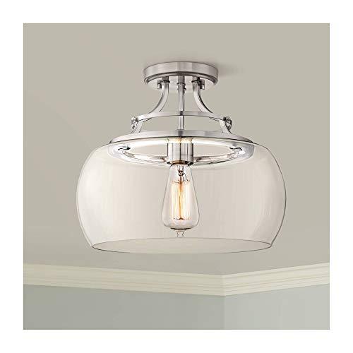 "Charleston Farmhouse Rustic Ceiling Light Semi-Flush Mount Fixture Antique LED Edison Brushed Nickel 13 1/2"" Wide Glass Shade House Bedroom Hallway Living Room Bathroom Dining - Franklin Iron Works"