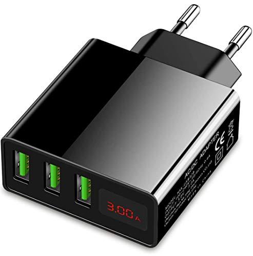 Eaxus® USB Ladegerät 3A - 3 Port Handy Netzteil mit LCD-Display & Schnellladefunktion, Schwarz