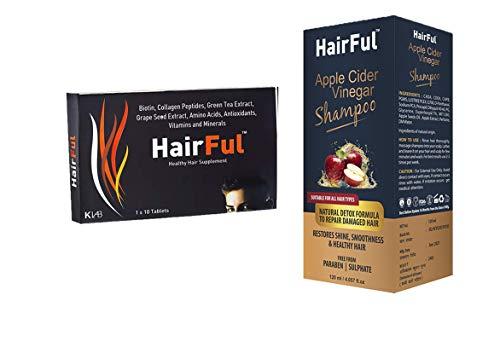 HairFul Hair Fall Tablet & Hair Grow (HairFul 10 Tablets + 1 Shampoo 120 ml)
